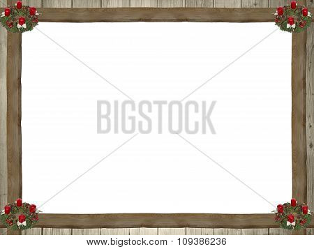Frame Of Wooden Planks And Advent Wreath