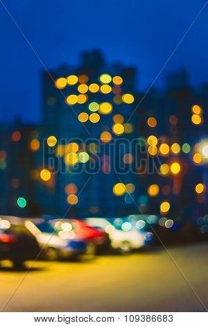 Blue Boke Bokeh Lights Urban City Background.