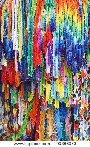 Colourful Origami Cranes Paper Fold