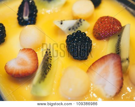 Cake Decoration With Mixed Fruit Berry Strawberry Kiwi