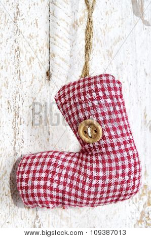 Handmade Christmas Decoration. Toy - Red Christmas Sock Hanging