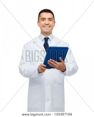 healthcare, profession, people and medicine concept - smiling male doctor in white coat with tablet pc