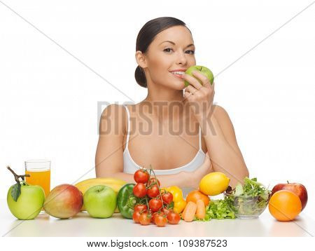 picture of beautiful woman with fruits and vegetables