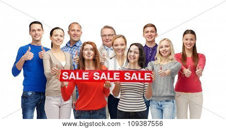 gesture, shopping, advertisement and people concept - group of smiling men and women showing thumbs up and holding red sale sign or banner