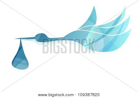 Abstract flying stork brings baby boy blue vector