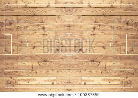 Football Field Made Of Wood.