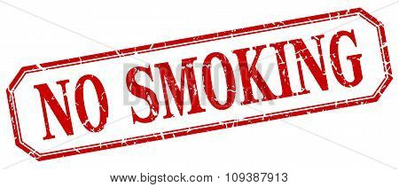 No Smoking Square Red Grunge Vintage Isolated Label