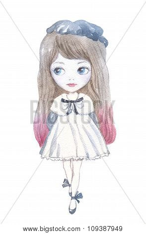 Watercolor Illustration Of A Little Girl With Bows.