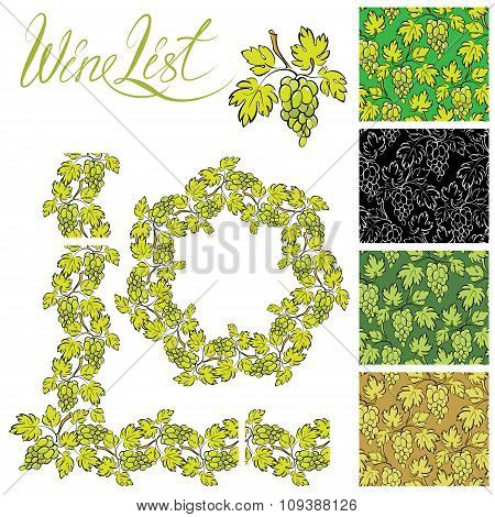 Set Of Grapes Frames And Repeated Element  For Wine Labels Or Menu Design, Seamless Patterns - Hand