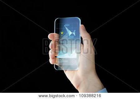 business, future technology, statistics and people concept - close up of male hand holding and showing transparent smartphone with charts over black background