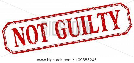 Not Guilty Square Red Grunge Vintage Isolated Label