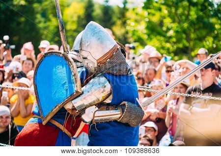 Knights In Fight. Restoration Of Knightly Battle