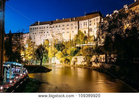 Night scenic view to castle in Cesky Krumlov, Czech republic.
