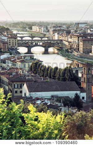 Florence City With Amazing Bridge Ponte Vecchio, European Cities