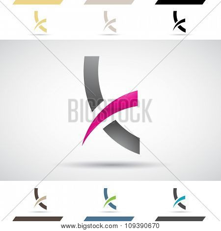 Design Concept of Colorful Stock Icons and Shapes of Letter K, Vector Illustration