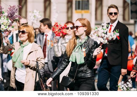 People participating in the parade dedicated to the Victory Day