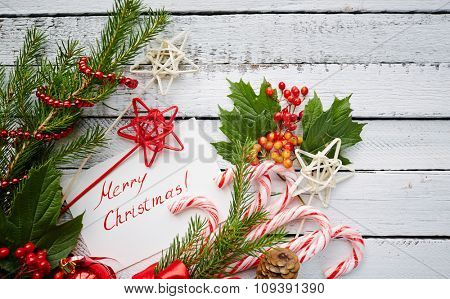 Christmas sweets, decorations and greeting card