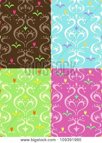 Abstract background pattern beige brown pink green pink blue orange yellow seamless illustration vec