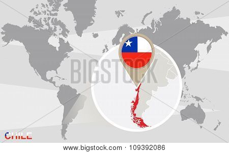 World Map With Magnified Chile