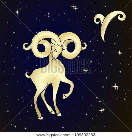 Zodiac Aries is the starry sky