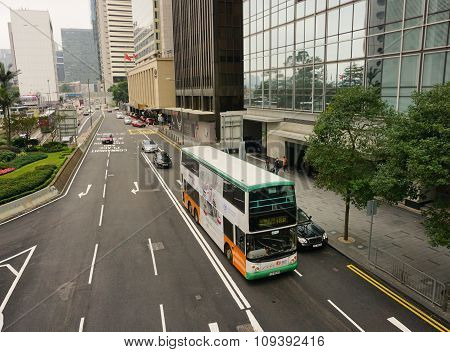 Double-deck Bus Running In Hong Kong