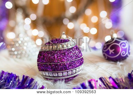 Christmas baubles with blurry background