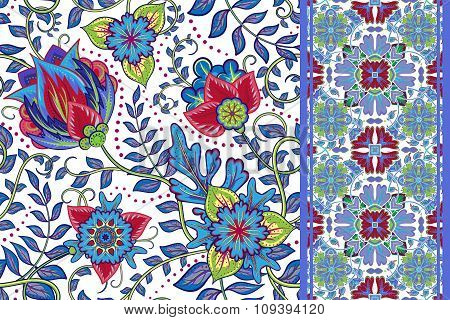 Set of vintage Seamless floral background and seamless border. Vector fantasy flowers pattern. Use t