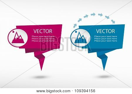 Mountain Icon On Origami Paper Speech Bubble Or Web Banner, Prints