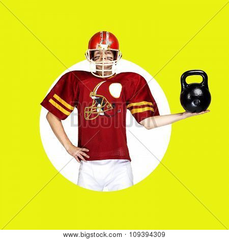 American football player in red uniform posing with dumbbell on color background