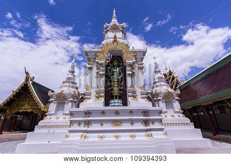 Thai Angel With Pagoda In Wat Sri Don Moon , Chiangmai Thailand
