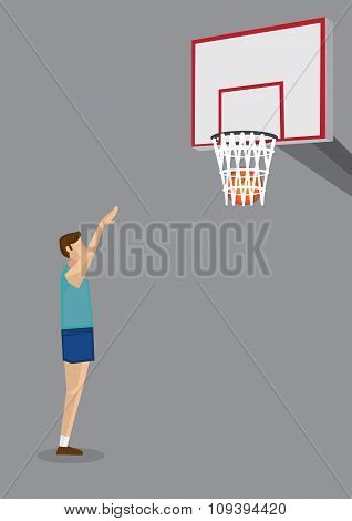 Basketball Shooting Practice Vector Illustration