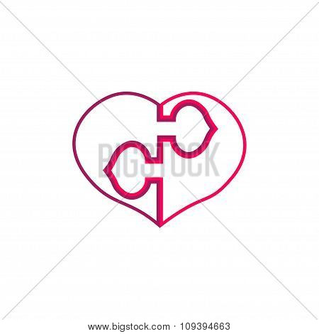 Two Outlined Puzzled Heart Halves