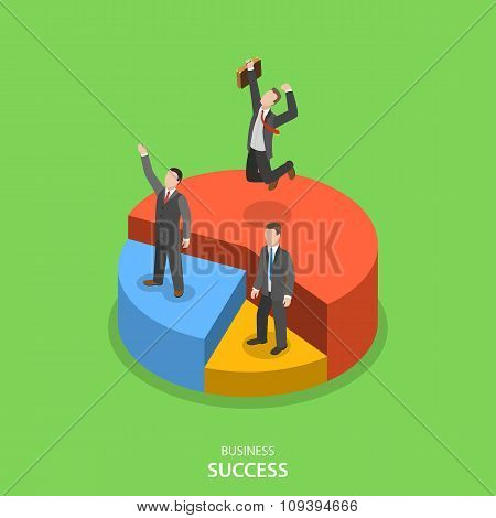 Financial success isometric flat vector concept.