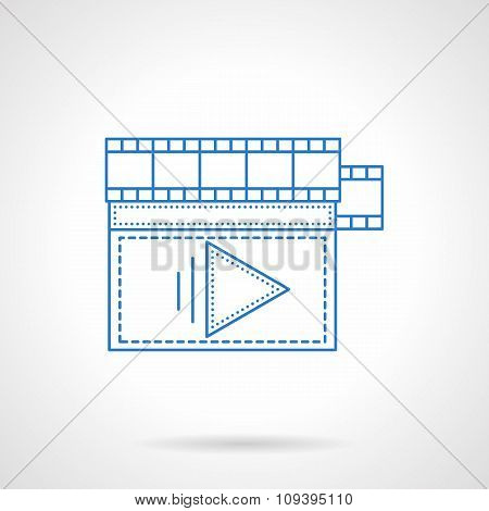 Flat blue line storyboard vector icon