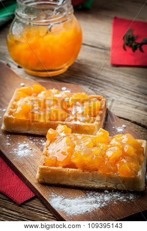 Waffles With Peach Jam.