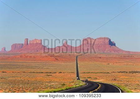 Road To The Monument Valley Usa With Panoramic View