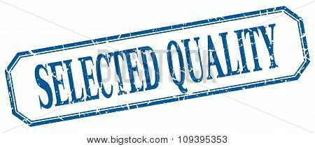 Selected Quality Square Blue Grunge Vintage Isolated Label