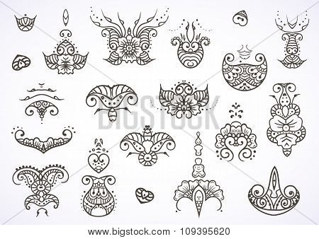 Henna mehndi tattoo doodle ornament vector set of black elements isolated on white background