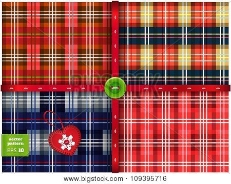Vector set of 4 seamless Christmas pattern. Varicolored tartan background. Checkered cover