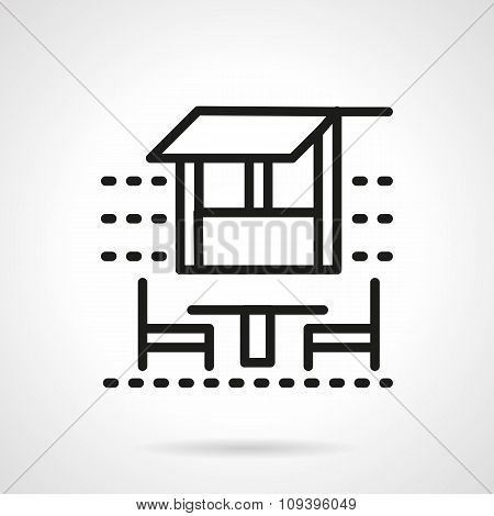 Outdoor cafe black simple line vector icon