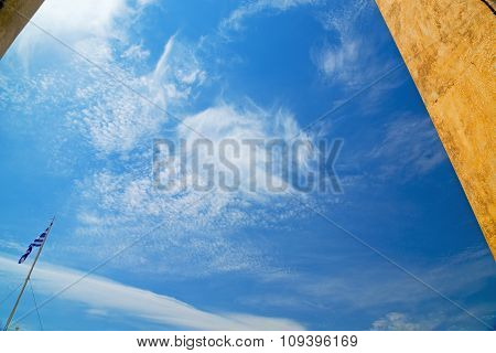 In The Sky Of World Cloudy Greece Flag Wall