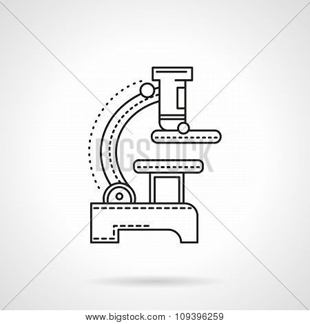 Flat black line microscope vector icon