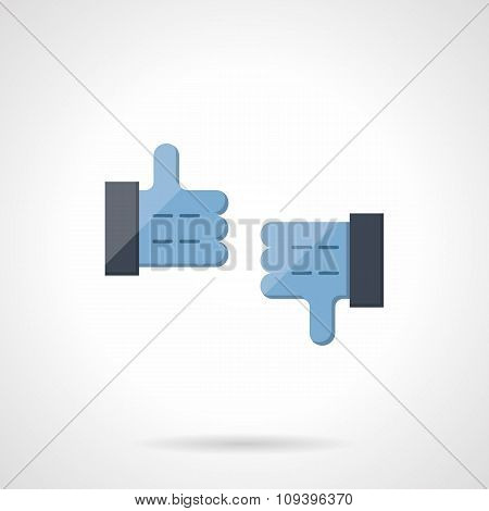 Like and dislike flat color vector icon