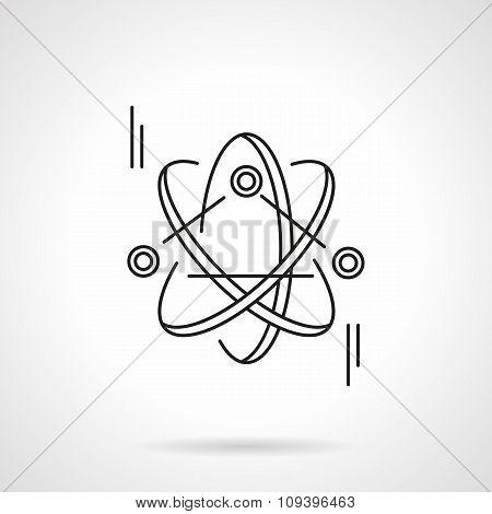 Atom model flat line vector icon