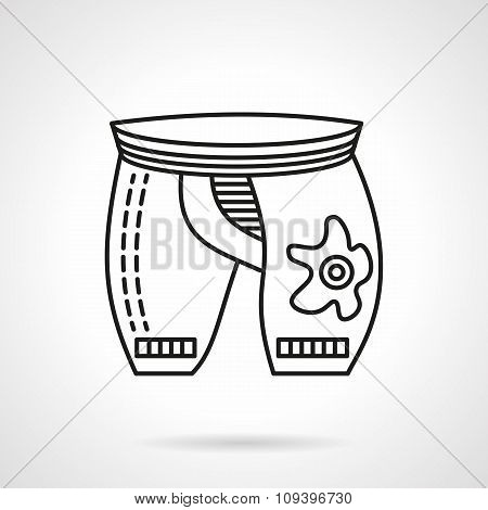 Black line cyclist shorts vector icon