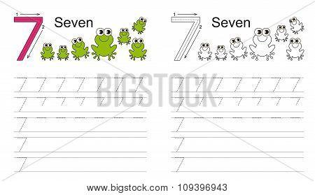 Tracing worksheet for figure seven