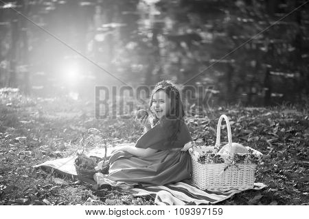 Black And White Photo Of Girl On Picnic