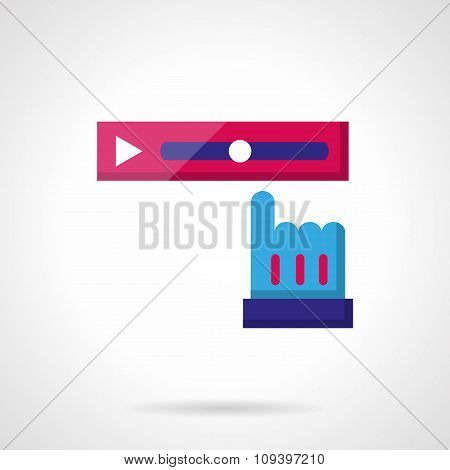 Video rewind color vector icon