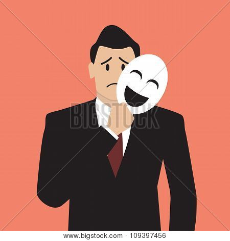 Fake Businessman Holding A Smile Mask