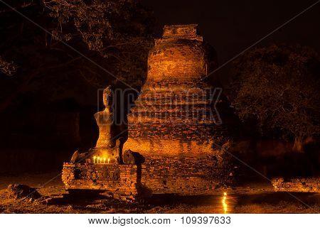 Night Scene Of Wat Phra Si Sanphet, Phra Nakhon Si Ayutthaya,Ayutthaya,Thailand.